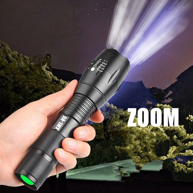 Portable mini flashlight XML-T6 L2 V6 LED ZOOM Torch hunting zoomable Flashlight torch Light 1