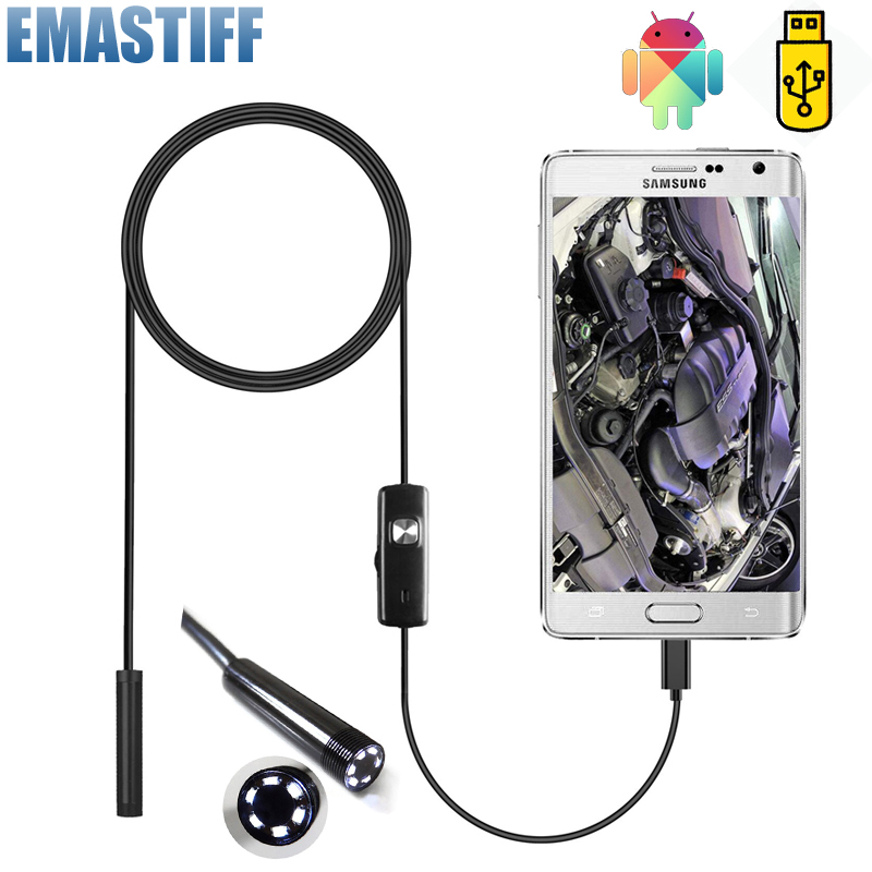 7mm Endoscope Camera Flexible IP67 Waterproof Micro USB Inspection Borescope Camera for Android PC Notebook 6LEDs Innrech Market.com