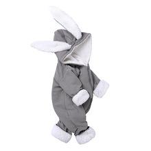 Zimowe śpioszki dla niemowląt nowonarodzone chłopcy dziewczęta ubrania ucho królika kombinezon z kapturem kostium dla niemowląt polarowe ciepłe grube chłopięce Romper tanie tanio COTTON Poliester Stałe O-neck zipper Unisex Pełna baby Romper Pasuje prawda na wymiar weź swój normalny rozmiar 70-80-90-100