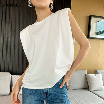 Spring Summer White Loose Sleeveless Top Women O Neck Camis Casual Basic Sport Vest Tops Female Streetwear Tank Tops Knitte 2020