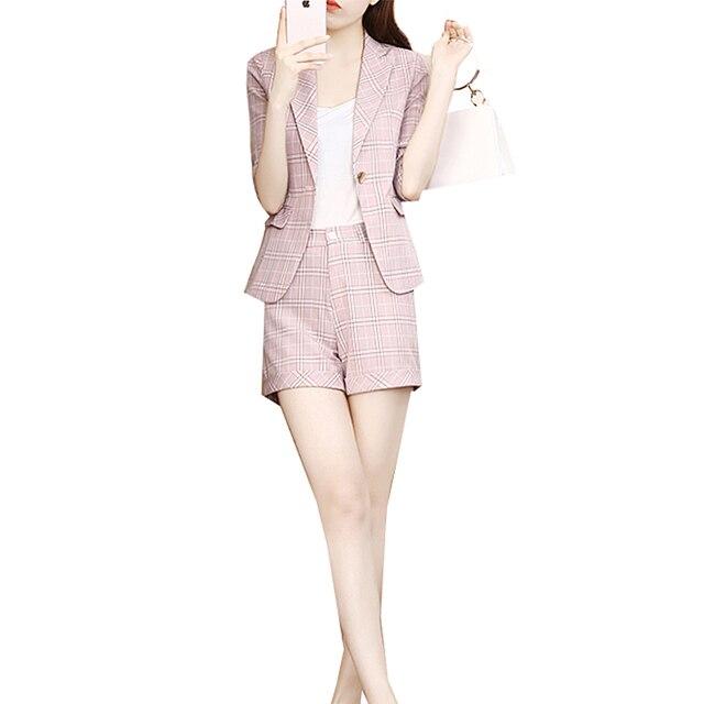 Mode tempérament plaid petit costume veste shorts deux pièces costume costume femme été nouveau style 2 pièces ensemble femmes