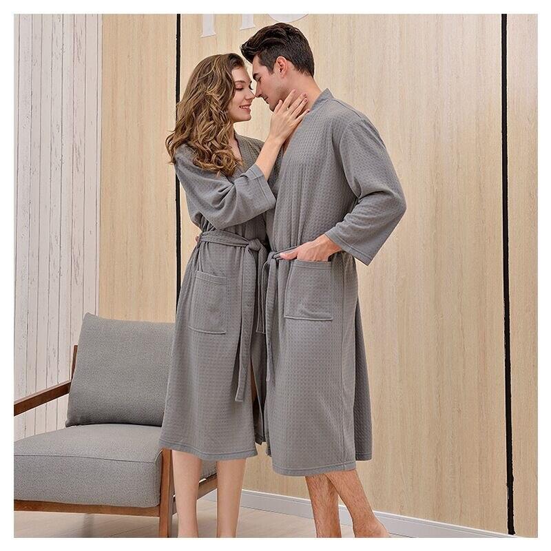 2019 New Style Unisex Kimono Bathrobe Women Men Waffle Fabric Large Size Robes Couples Bath Gowns Loves Nightgown Sleepwear in Robes from Underwear Sleepwears