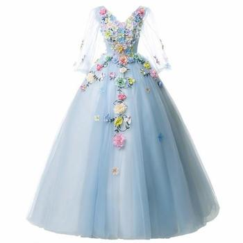Gryffon Quinceanera Dress Full Sleeve V-neck Party Prom Solo Ball Gown Sweet Floral Print Host Dresses Plus Size - discount item  34% OFF Special Occasion Dresses