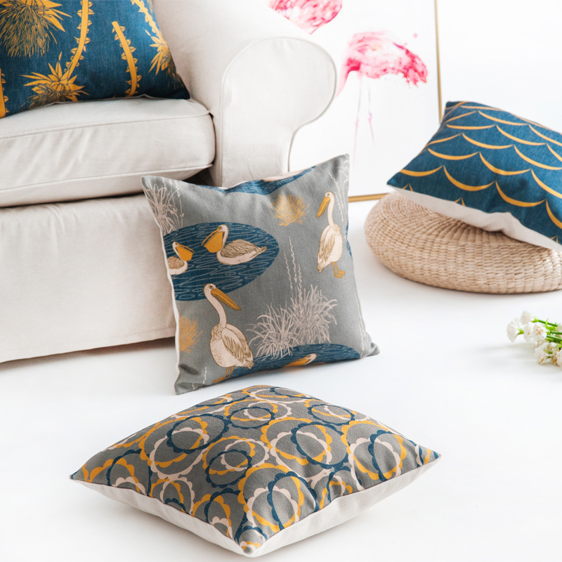Drop Shipping Countryside Modern Pillow Cover Cormorant Plant Printing Cushion Bedside Sofa Chair Art Home Decoration