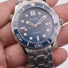 Bliger 41 مللي متر الطلب الأزرق تاريخ مضيئة الحركة التلقائية للرجال موضة ساعة ميكانيكية عادية
