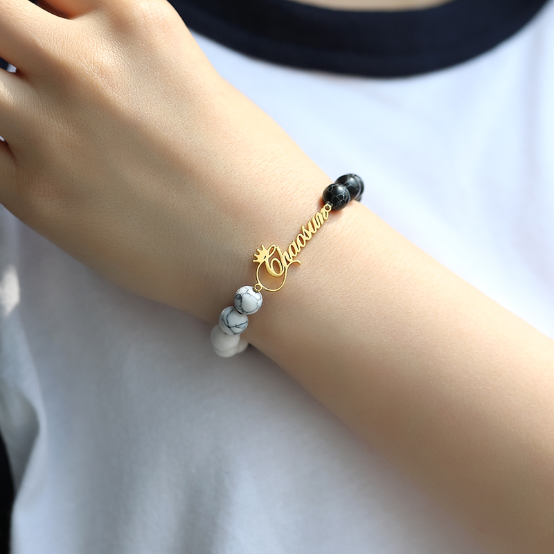 Couples Distance Classic Natural Bracelet Stone Custom Crown Name Bracelet BFF Pulseras Mujer Armband Charm Bracelets For Women