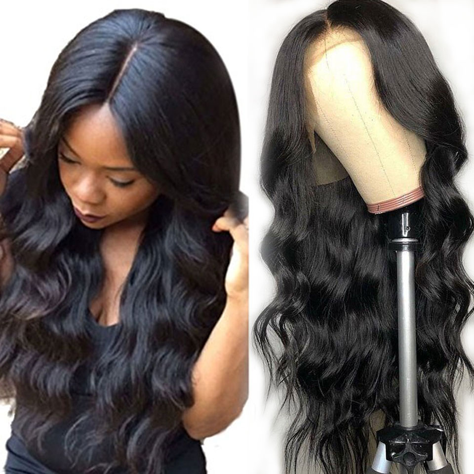 180% Lace Front Human Hair Wigs Long Brazilian Body Wave Transparent Invisible Undetectable Lace Front Wigs For Black Women