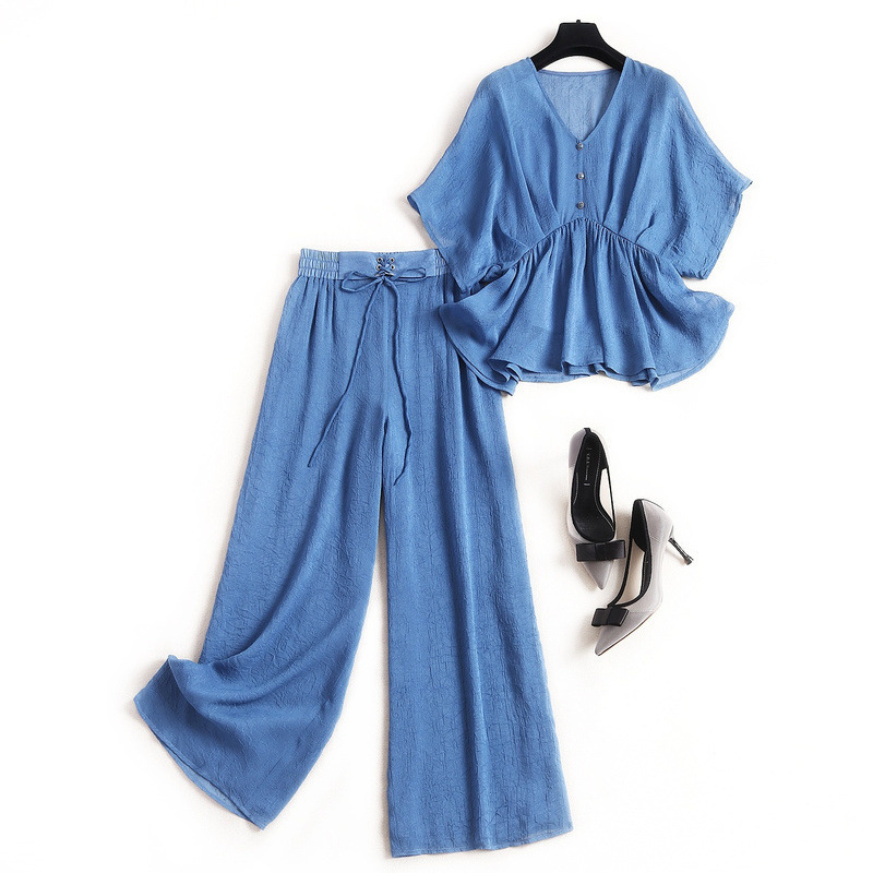 2020 Summer Solid Color Fashion Suit Women Plus Size Thin Crop Top + Suspender Shirt + Tie Wide Leg Pants Two Three Piece Set
