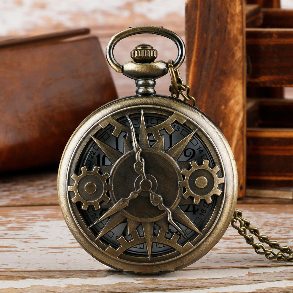 Retro Bronze Hollow Gear Movement Quartz Pocket Watch Pendant Chain Gift Bronze Antique Necklace Clocks For Men Women Reloj 2020
