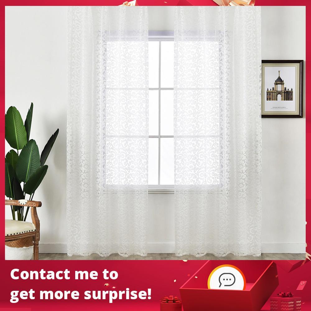 NAPEARL-cortina de tul de estilo europeo para decoración del hogar, cortina moderna de estilo jacquard, panel transparente de organza, tratamiento para ventanas, color blanco