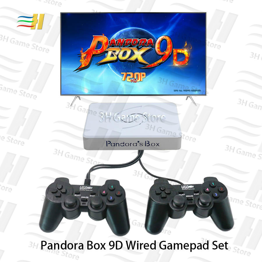 Pandora Box 9d With Double Wired Gamepad Wireless Joypad Set 2500 In 1 Arcade Video Game Support 3d Tekken Mortal Kombat Pacman