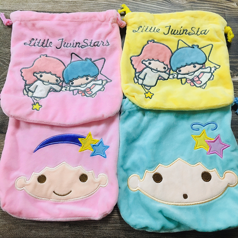 Pom Purin Twin Star  Anime Drawstring Bags Plush Storage Handbags Makeup Bag Coin Purses Unisex NEW