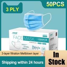 Mascarilla médica no tejida desechable, máscara quirúrgica no tejida, anticontaminación, con filtro de 3 capas, seguridad, antipolvo, 50/100/200 Uds.