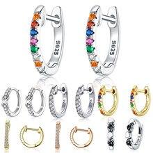 Stadniny kolczyki BISAER gorąca sprzedaż 925 srebro okrągłe koło kobiety kolczyki kolorowe Cubic cyrkon CZ biżuteria srebrna ECE721