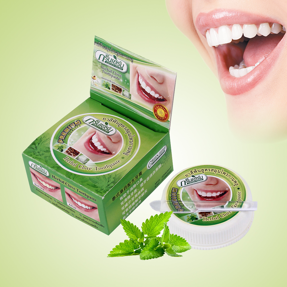 Herb Natural Herbal Thailand Toothpaste Tooth Whitening Toothpaste Remove Stain Antibacterial Allergic Tooth Paste Пенал