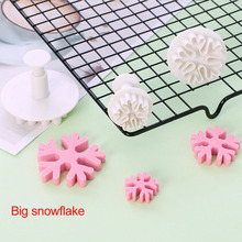 Christmas Snowflake Cake Biscuits Silicone Mold Baking Fondant Cake Tools Snowflake Fondant Pressing Flower Spring Cookie Mould