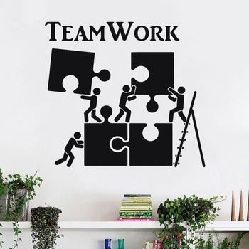 WJWY Teamwork Motivation Decor For Office Worker Puzzle Wall Stickers Modern Interior Wall Decoration Art Vinyl Wall Decal