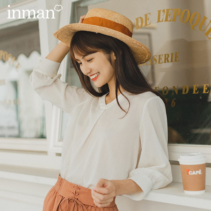 INMAN 2020 Summer New Arrival Elegant Artsy Style Half Sleeve Pure Cotton  V Neck All Match Stripped Blouse