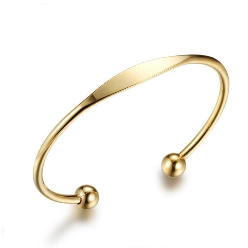 HUAJI Neue Frauen, Personalisierte Edelstahl Armband Armreifen Gravieren Name Manschette Armbänder Schmuck Geschenk für Frauen