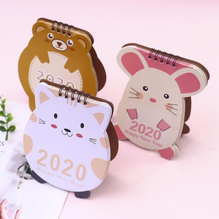 2019.7-2020.12 Kawaii Desktop Calendar Animal Mouse Cat Bear Desk Calendario Birthday Gift School Office Stationery