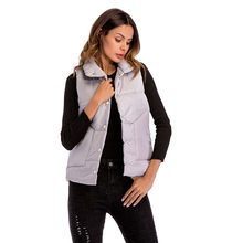 Winter Waistcoat Women Coat Sleeveless White Turn-down Collar Single Breasted Pockets Slim Fit Black JCotton ackets Tops Ladies(China)