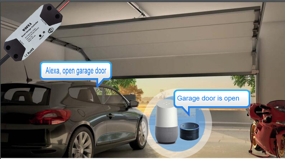 Hf4a4571828544390b0fc15fee4c16f54V Wofea WiFi Switch Smart Garage Door Opener Controller Work With Alexa Echo Google Home SmartLife/Tuya APP Control No Hub Require