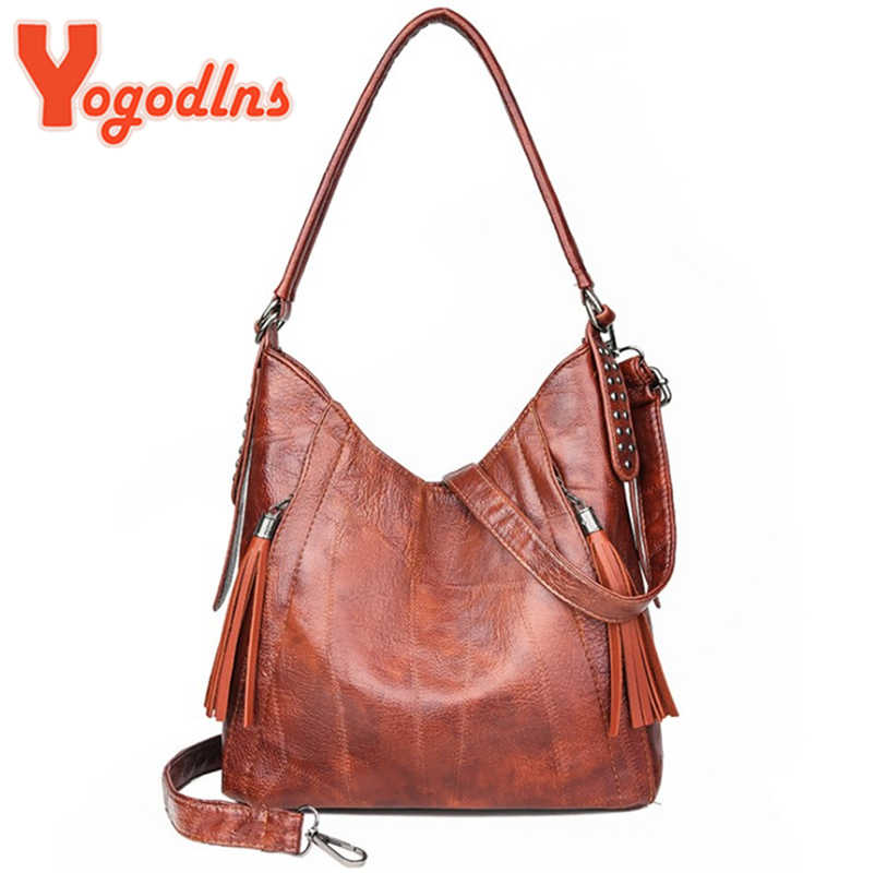 Yogodlns Hot Sale Fashion Brown Women Handbag Vintage Fashion Female Tote Bag New PU Leather Women's Designer Shoulder Bag
