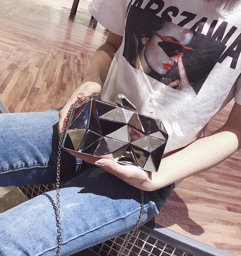 Hexagon Women Handbags Metal High Quality Clutches Fashion Geometric Mini Party Black Evening Purse Silver Bags Gold Box Clutch (13)