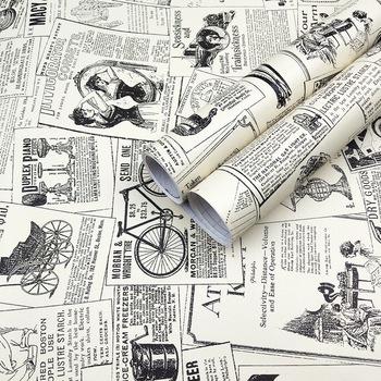 Vintage gazeta Peel and Stick tapeta dekoracyjna naklejka ścienna wodoodporna winylowa samoprzylepna półka mata do szuflad Home Decor tanie i dobre opinie Rohs CN (pochodzenie) USD rolka Winylu TŁOCZONA Nowoczesne Tapety winylowe Tapety winylowe na papierze SALON do pokoju z pościelą