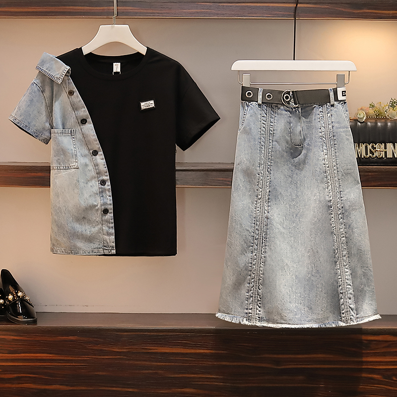 Cyanlee Plus Size Summer Short Sleeves Patchwork T-shirt And Long Denim Skirt Set Women 2 Pcs Set  With Belt Office Lady Outfits