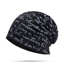 2019 jesień zima czapki lekki cienki mężczyzna kobiet list Skullies kapelusz na co dzień Turban Hip-Hop czapki czapki Bonnet czapki tanie tanio MAOCWEE COTTON Polyester Unisex Dla dorosłych TM210 letter Skullies czapki Coffee Khaki Black Gray DarkGray DarkBlue