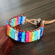 Разноцветный браслет чакра ручной работы из натурального камня
