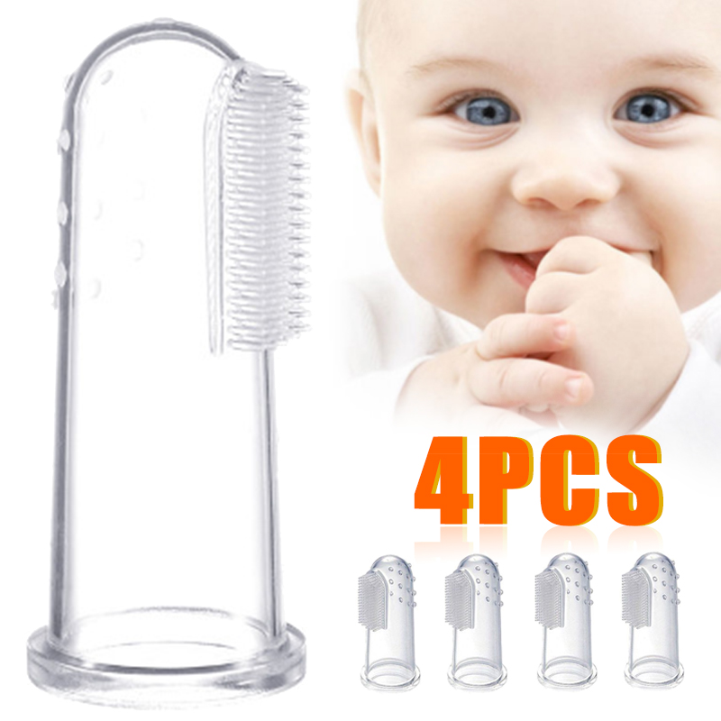 4pcs Cute Baby Finger Toothbrushes Children Teeth Clear Massage Soft Silicone Infant Rubber Cleaning Brush Massager Oral Care image