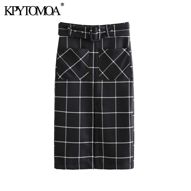 Vintage Elegant Office Wear With Belt Plaid Skirt Women 2020 Fashion Back Zipper Pockets Slit Female Skirts Casual Faldas Mujer