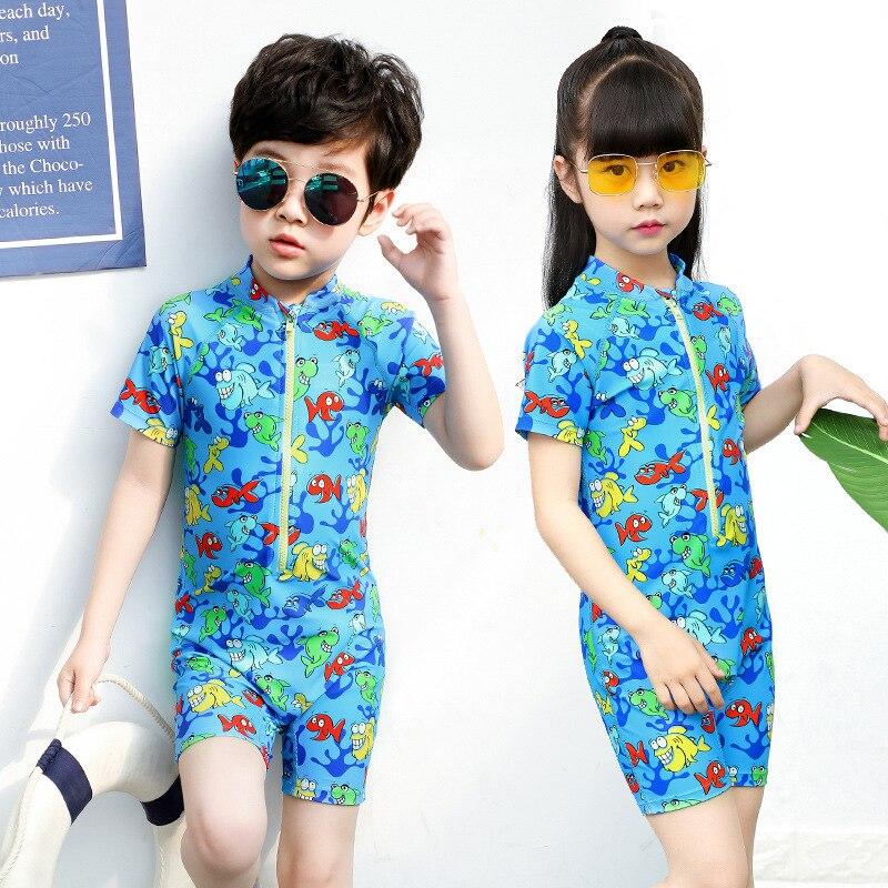 Sbart KID'S Swimwear Men And Women Children Swimwear Big Boy Siamese Swimsuit Quick-Dry Kids Romper Bathing Suit