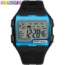 цены SYNOKE Fashion Men's Square Digital Watch Luminous Outdoor Sports Waterproof Man Watch LED Display Multifunctional Wristwatch