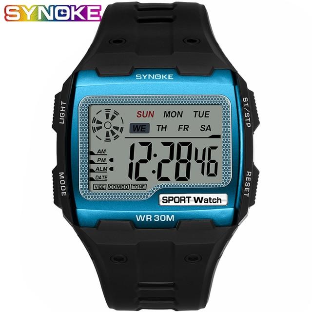SYNOKE Fashion Mens Square Digital Watch Luminous Outdoor Sports Waterproof Man Watch LED Display Multifunctional Wristwatch