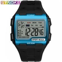 SYNOKE موضة رجالية ساحة ساعة رقمية مضيئة الرياضة في الهواء الطلق مقاوم للماء رجل ساعة LED عرض متعدد الوظائف ساعة اليد