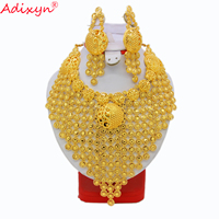 Adixyn African Jewelry Set High Quality Gold Color Necklace Earring Set Big Size Arab Dubai Wedding MOM/Girlfriend Gifts N11022