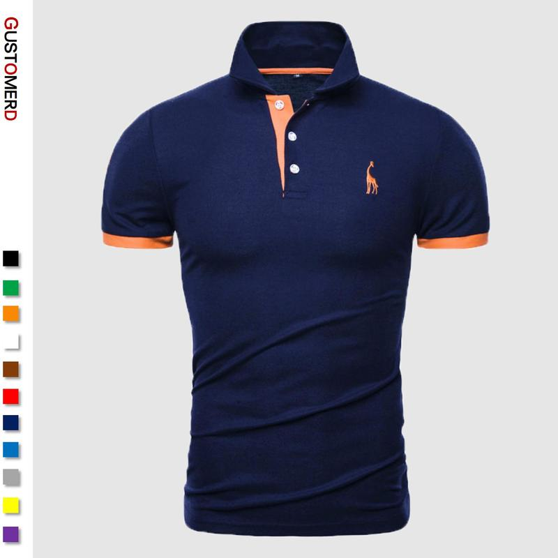 Shirt Men Clothing Tops Embroidery Polo Giraffe Male Cotton Casual Brand Patchwork 13-Colors