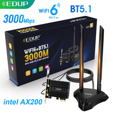 EDUP 3000M WiFi карта двухдиапазонный 802.11AX Wifi6 AX200 Bluetooth 5,1 беспроводной адаптер PCI-E сеть PCIExpress для Windows 10 PC