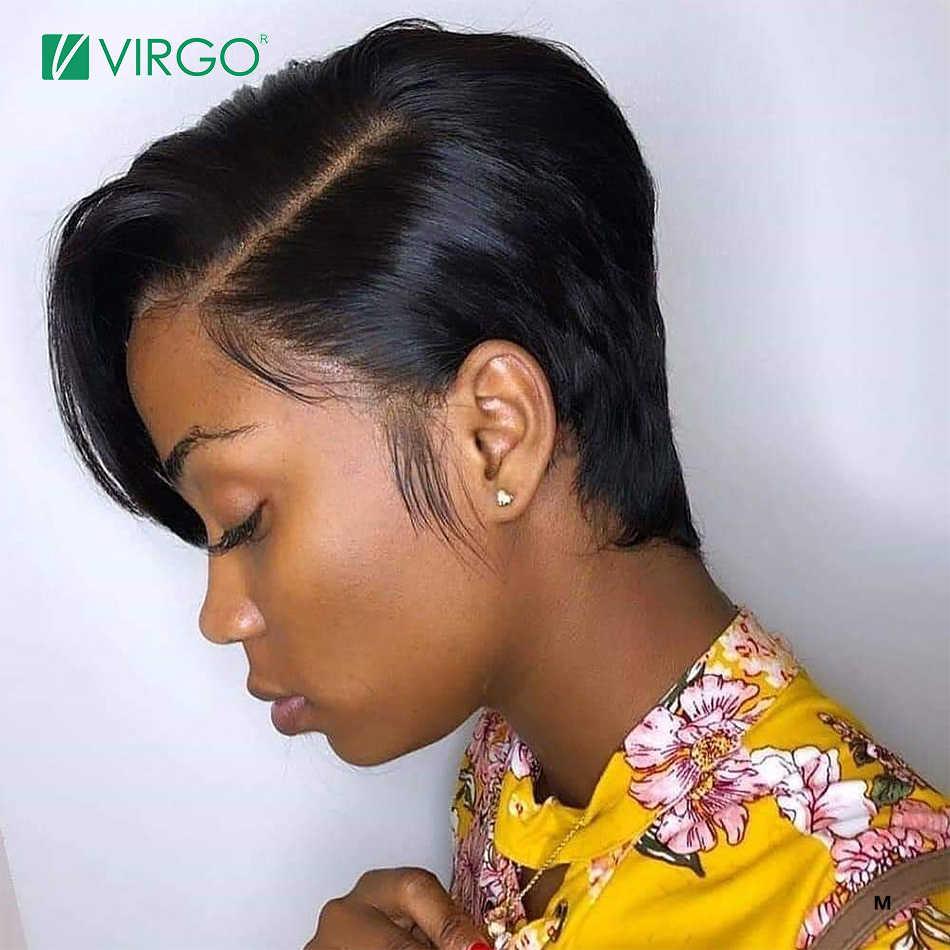 Panna 13x4 krótka, koronkowa peruka z przodu fryzura Pixie peruka brazylijska prosto Remy włosy 150% gęstość koronkowa peruka z ludzkich włosów peruki wstępnie oskubane