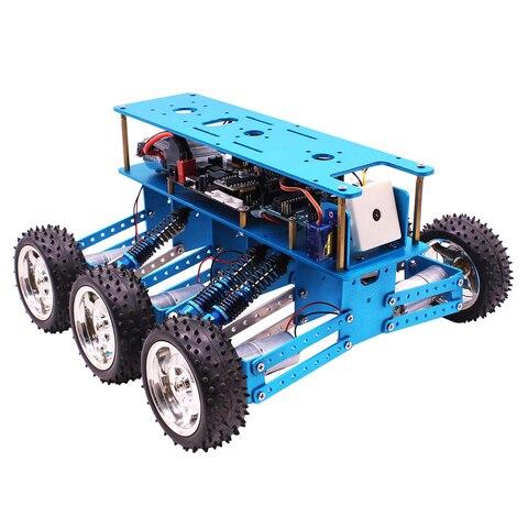 6wd fora de estrada robo carro com camera para arduino uno diy kit robo para