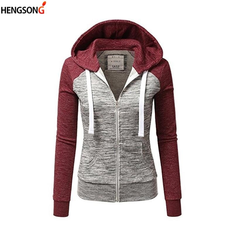 HENGSONG Spring Fashion Hooded Hoodies Two Tone Windbreaker Jacket Zipper Pockets Casual Long Sleeves Feminino Coats Outwear