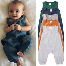 2020 New Summer Newborn Baby Boys Jumpsuits Pure Cotton Sleeveless Kids Vest Rompers Soft Infant Girls Pajamas Toddler Clothes summer newborn baby boys girls clothes superman batman spiderman rompers cotton short sleeve vest suit 0 24m kids jumpsuits