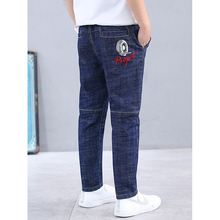 Fat Boys Jeans Fashion Big Boy Solid Color Denim Pants Autumn Spring Children Clothing Cotton Loose Elastic Jeans for Boys Kids cheap GB-Kcool Casual Fits true to size take your normal size kids jeans Elastic Waist Regular Light Distrressed White Colored
