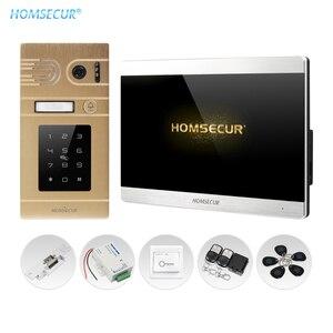 Homsecur 4 fio de vídeo porta intercom kit com 7 polegada tela sensível ao toque desbloquear via keyfob senha fail safe lock botão saída incluído