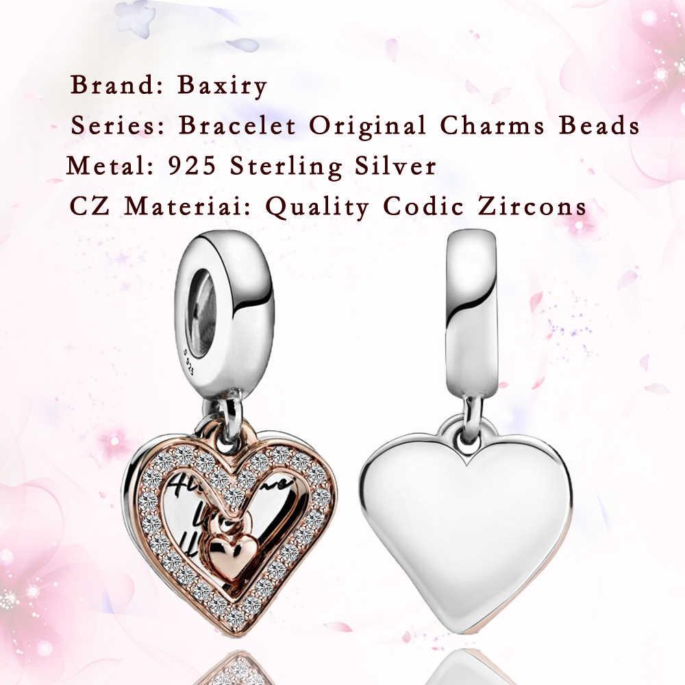 Kolye DIY takı yapımı 925 ayar gümüş Fit Pandora Charms gümüş 925 orijinal bilezikler kalp şekilli kolye ucu boncuk 2020
