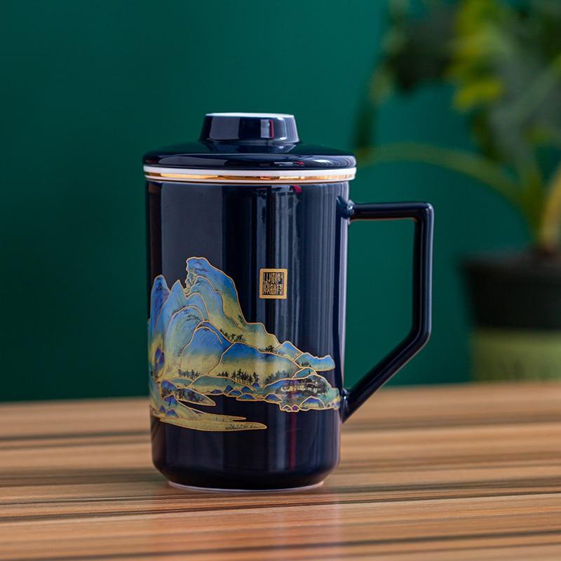 High-end Chinese Cute Ceramic Filter Tea Cup Mug Coffee Cup Portable Tea Set Teapot Tea Cup Tea Set Tea Bowl Personal Office Tea