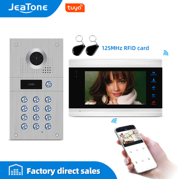 Tuya Smart App Remote Control WiFi Wired Video Door Phone Intercom Access Control System Motion Detection Code Keypad RFID Card